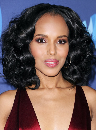 hair styles for bangs file 4327 kerry washington medium black curly 4327 | file 4327 Kerry Washington Medium Black Curly Romantic Hairstyle