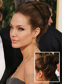 Angelina Jolie Best Hairstyle for a Strapless Dress