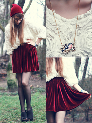 red, velvet skirt, wedge booties and red beanie valentines day outfit