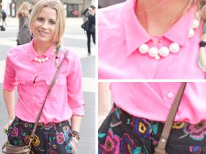 fashion week street style pink shirt