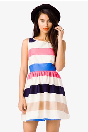 Striped Self-Tie Dress