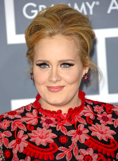 Adele's Blonde, Romantic, Tousled, Updo Hairstyle