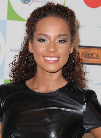 Alicia Keys Long, Curly, Brunette Half Updo