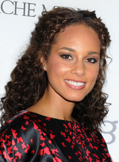 Alicia Keys Medium, Romantic, Curly Half Updo