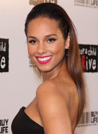 Alicia Keys Sexy, Sophisticated, Straight, Brunette Ponytail
