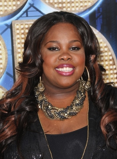 Amber Riley Long, Curly, Layered Hairstyle with Highlights