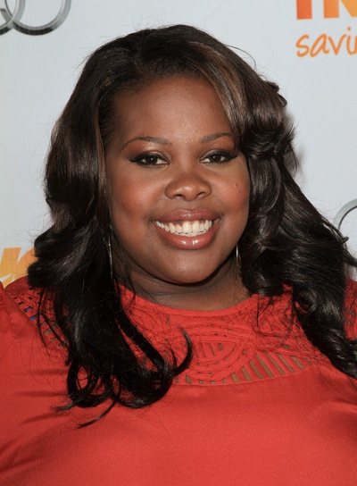 Amber Riley Long, Layered, Sexy, Chic, Black Hairstyle with Highlights