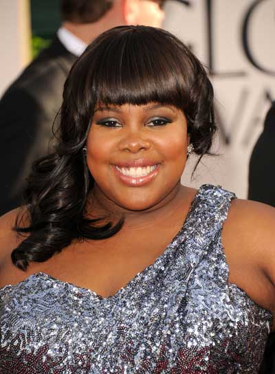 Amber Riley Medium, Curly, Brunette, Prom Hairstyle with Bangs