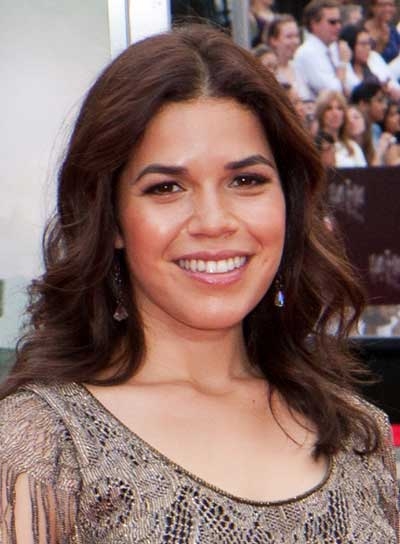 America Ferrera Medium, Wavy, Brunette Hairstyle