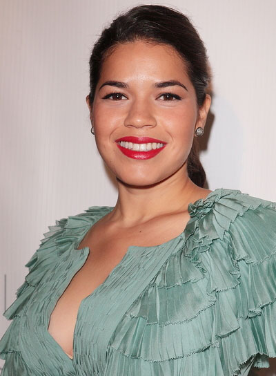 America Ferrera Sophisticated, Brunette Ponytail