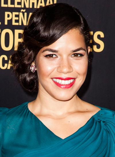 America Ferrera's Sophisticated, Wavy, Brunette, Updo Hairstyle