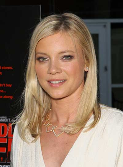 Amy Smart Medium, Straight, Sophisticated, Blonde Hairstyle