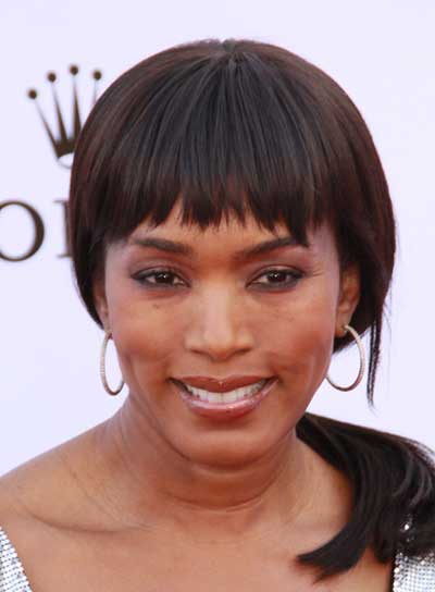Angela Bassett Medium, Straight, Black Ponytail with Bangs