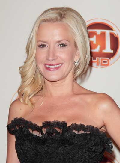 Angela Kinsey Medium, Curly, Romantic, Blonde Hairstyle