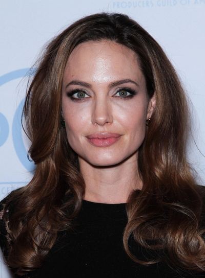 Angelina Jolie Long, Curly, Sexy, Brunette, Formal Hairstyle