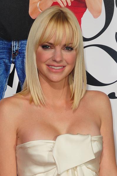 Anna Faris Medium, Straight, Chic, Blonde Hairstyle with Bangs