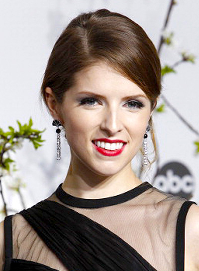 Anna Kendrick with a Sophisticated, Formal, Brunette, Updo Hairstyle
