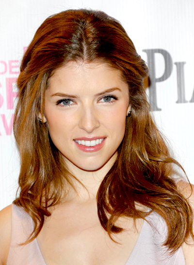 Anna Kendrick's Long, Wavy, Brunette, Tousled, Half Updo, Hairstyle