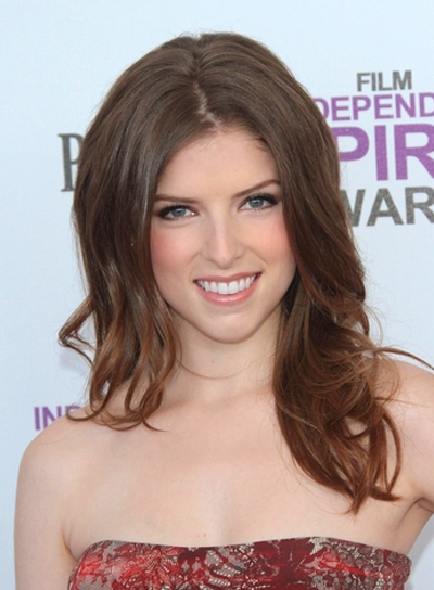 Anna Kendrick Long, Wavy, Tousled, Romantic, Brunette, Party Hairstyle