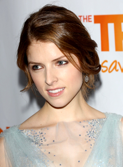 Anna Kendrick's Romantic, Brunette, Updo Hairstyle with Braids and Twists