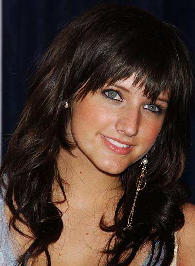 Ashlee Simpson Long, Black, Wavy Hairstyle with Bangs