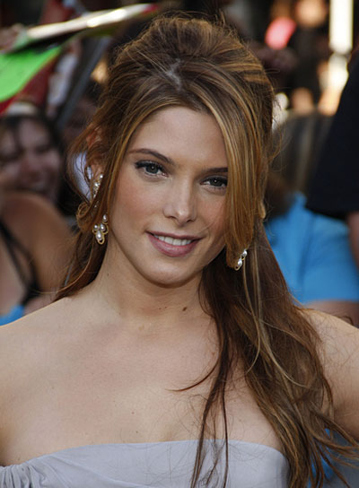 Ashley Greene Long, Sophisticated Half Updo with Highlights