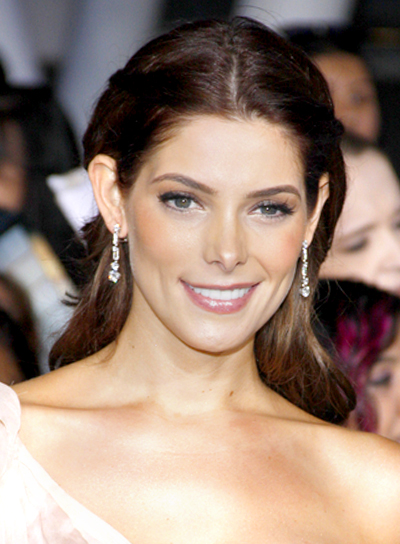 Ashley Greene's Sophisticated, Brunette, Half Updo Hairstyle with Braids and Twists