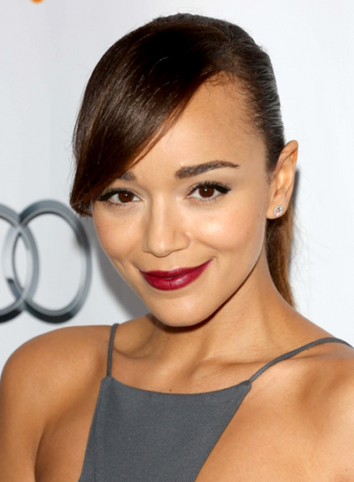Ashley Madekwe's Long, Chic, Brunette, Ponytail Hairstyle