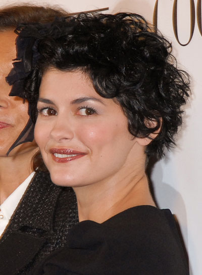Audrey Tautou Short, Curly, Tousled, Black Hairstyle