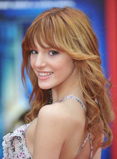 Bella Thorne Long, Romantic, Red Hairstyle with Bangs