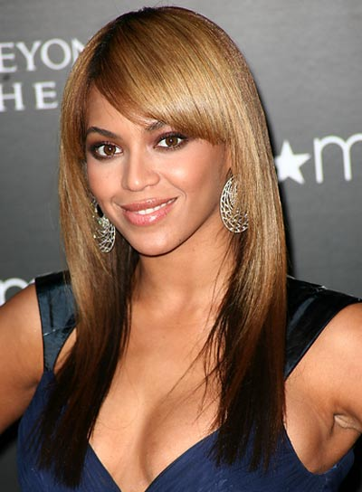 Beyonce Knowles Straight Hairstyle with Bangs