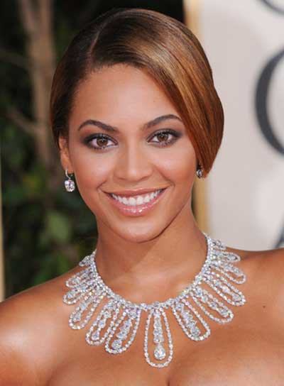 Beyonce Knowles Straight, Sexy, Brunette Updo