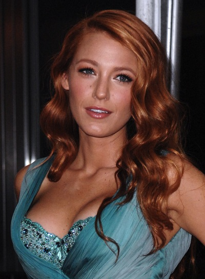 Blake Lively Long, Red, Romantic, Wavy Hairstyle
