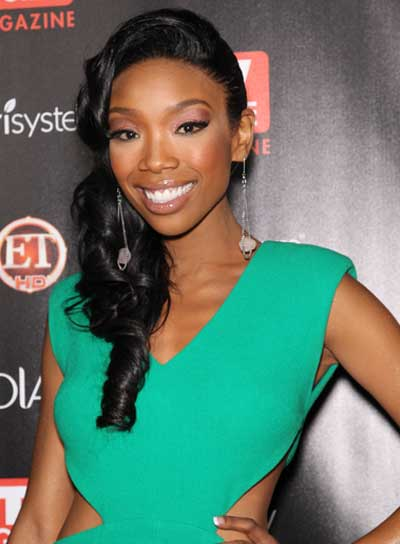 Brandy Long, Black, Curly, Romantic Ponytail