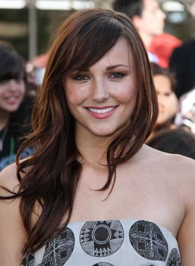 Briana Evigan Long, Wavy, Tousled, Romantic, Brunette Hairstyle with Bangs