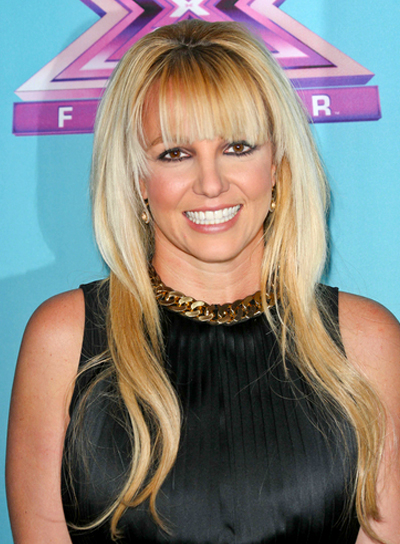 Britney Spears' Long, Blonde, Chic Hairstyle with Bangs