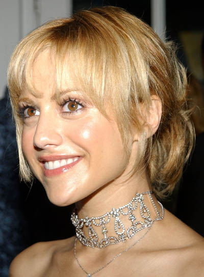 Brittany Murphy Blonde Updo with Bangs