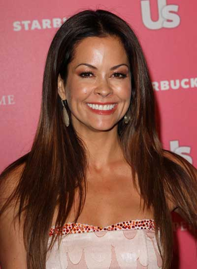 Brooke Burke Long, Sexy, Straight, Layered, Brunette Hairstyle