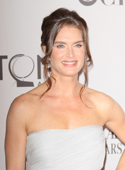 Brooke Shields Chic, Curly, Prom, Brunette Updo