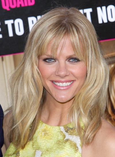 Brooklyn Decker's Medium, Tousled, Blonde Hairstyle with Bangs