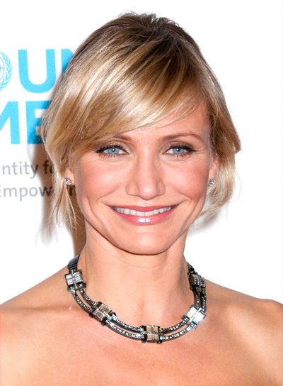 Cameron Diaz's Short, Blonde, Updo Hairstyle with Bangs
