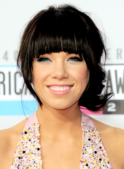 Carly Rae Jepsen's Brunette, Tousled, Party, Updo, Hairstyle with Bangs