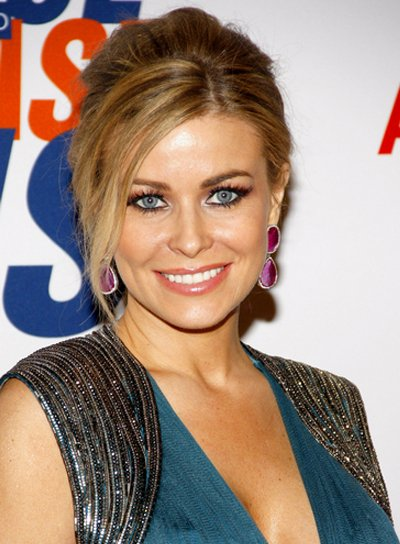 Carmen Electra's Chic, Sophisticated, Updo Hairstyle with Bangs