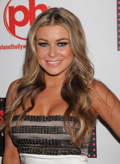 Carmen Electra Curly, Sexy, Blonde Hairstyle with Highlights