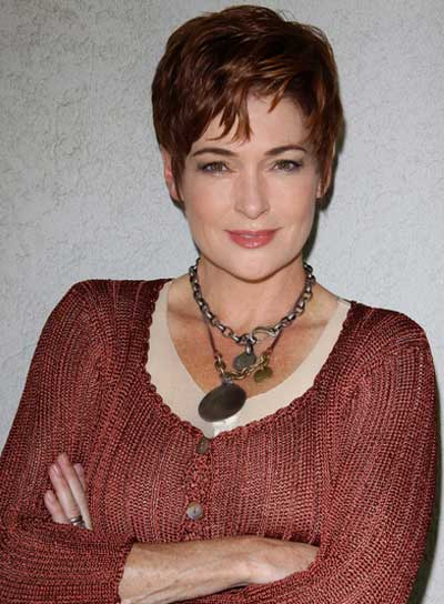 Carolyn Hennesy Short, Wavy, Tousled, Red Hairstyle