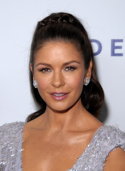 Catherine Zeta-Jones Long, Sophisticated, Ponytail with Braids and Twists