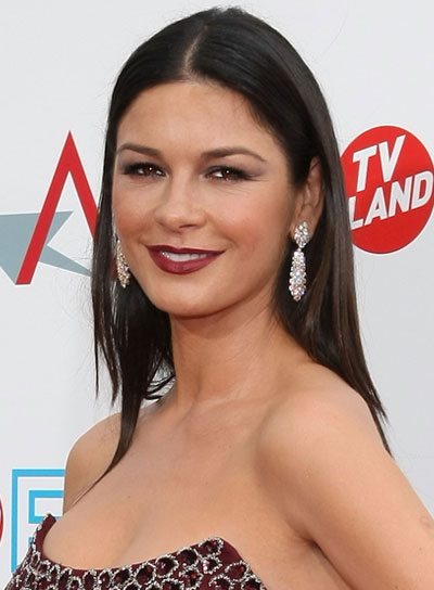 Catherine Zeta-Jones Straight, Chic, Black Hairstyle