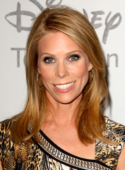 Cheryl Hines' Medium, Blonde, Straight, Layered Hairstyle