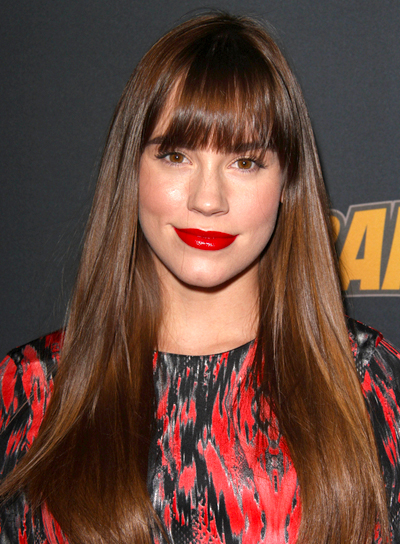 Christa B. Allen with a Long, Straight, Brunette Hairstyle with Bangs