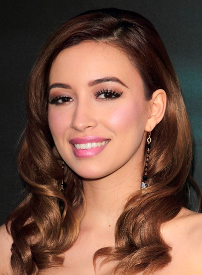 Christian Serratos' Medium, Brunette, Wavy, Formal Hairstyle
